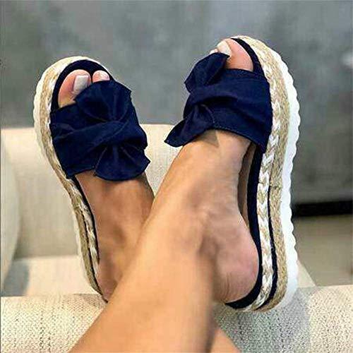 SOFIALXC Damen Wedges Flatform Bowknot Slippers Sandalen, Sommer Casual Slip on Platform Slide Sandalen Open Toe Bequeme Bowknot Espadrilles, Blau, 38