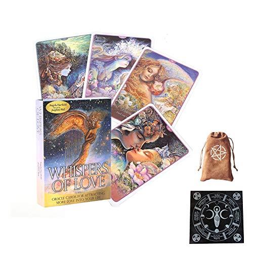 Whispers of Love Cartas de Oracle Cartas de Tarot Amigos Fiesta Familiar Jugando Vacaciones Juego de Mesa Feliz Tarjetas de Regalo,with Tablecloth + Bag,Tarot Cards