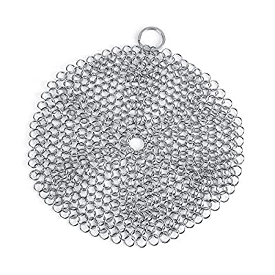 Ponacat Chainmail Scrubber, Stainless Steel Cast Iron Cleaner Anti-Rust Scraper for Cast Iron Pan Pot Cookware, for Grilling & BBQ Utensil, Grill Scrapers, Outdoor Cooking
