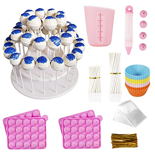 Akingshop Cake Pop Maker Kit- 632Pcs Cake Pop Baking Supplies with Silicone Molds, 3-Tier Cake Stand, Silicone Barking cups, Decoration Pen, Silicone Measuring Cups, Lollipop Sticks, Bags and Ties