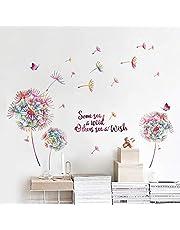 decalmile Muurstickers Kleurrijk Paardebloemen Muurtattoo Zinnen Inspirationele Citaten Wanddecoratie Slaapkamer Huiskamer Kantoor