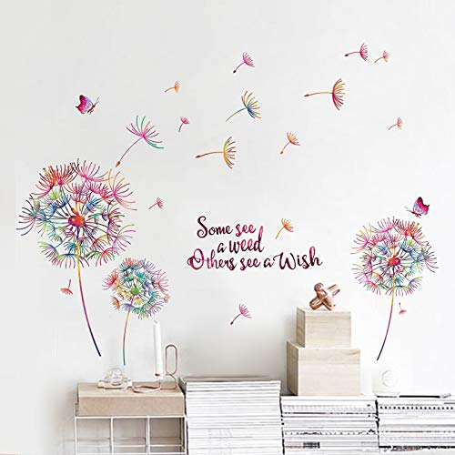 decalmile Colorful Dandelion Wall Decals Quotes Inspirational Letters Butterfly Wall Stickers Living Room Bedroom Sofa TV Background Wall Art Decor