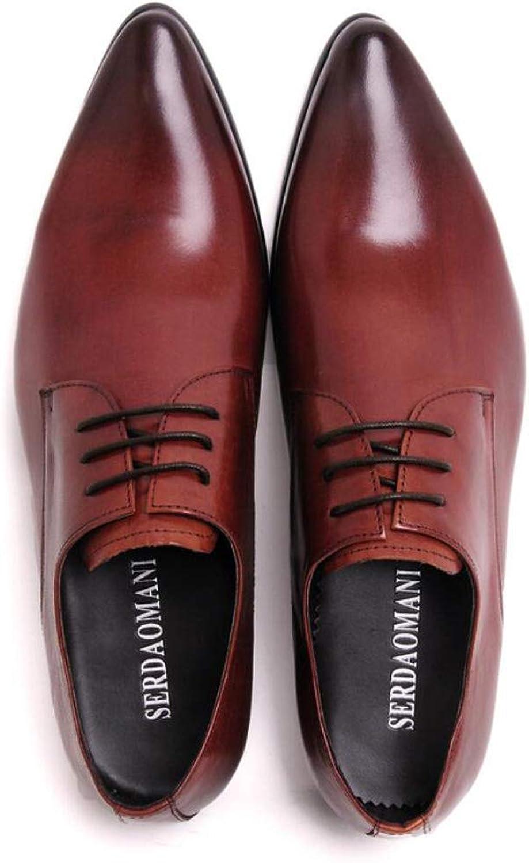 MKJYDM Men's Casual shoes, Pointed Straps, Business Men's shoes, Trend Low shoes, Wearable Hair Stylist shoes Men's Leather shoes (color   Red, Size   40 EU)