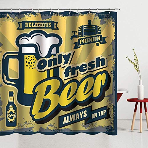 lovedomi Cerveza Fiesta Cortina Ducha Patrón Cerveza Fresca Cortina Ducha baño Cortina Ducha partición la casa Durable Fácil Limpiar Tela Impermeable Adecuado para baño Habitación Ducha Hotel