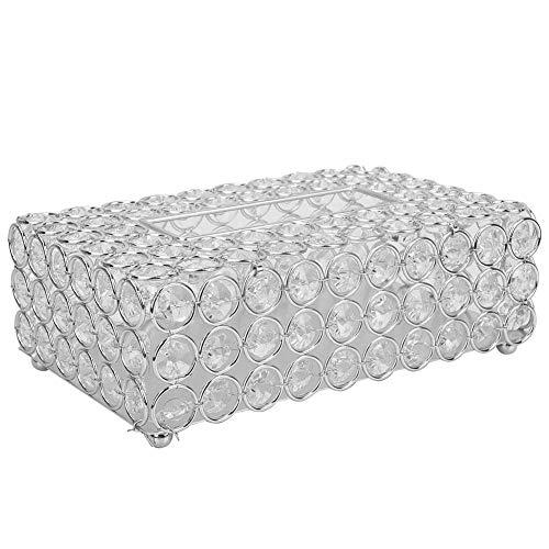 HERCHR Cajas de pañuelos faciales rectangulares, dispensador de toallitas para servilletas de Cristal Artificial para decoración de Cocina casera(Plata)