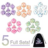 DND Dice, 5 x 7 Sets (35 Pieces) Polyhedron Dice for Dungeons & Dragons RPG MTG DND Tabletop Game with 1 Free Pouch D4 D8 D10 D12 D20