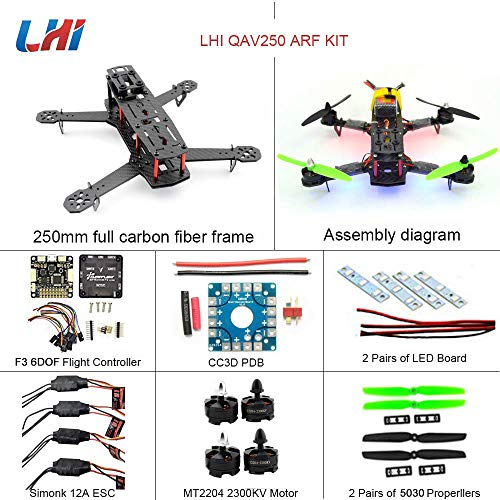 LHI 250 Race Quad ARF 250mm Carbon Fiber Frame Kit + F3 6DOF Flight Controller + MT2204 2300KV Brushless Motor + Simonk 12A ESC + 5030 Propeller Prop 2-3s ARF Kit FPV Quadcopter QAV250