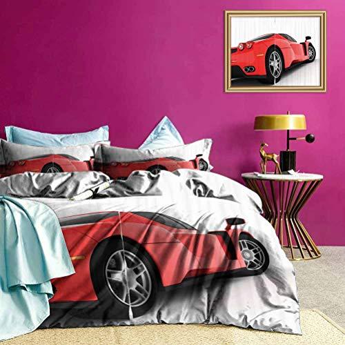 Adorise Colcha Colcha Conjunto Rojo Super Sports Car Suaves y Ligeros Coverlet Niza y Colores Vibrantes - Extragrande