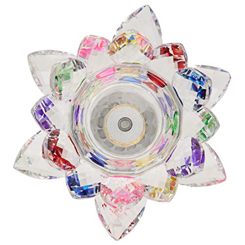 Garneck Colorful Glass Candle Holders Crystal Lotus Candle Tealight Holders Clear Taper Candle Stand Wedding Candle Holder For Wedding Bathroom Centerpeices