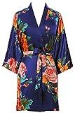 PRODESIGN Bata de verano para mujer, kimono corto con estampado de flores, albornoz de satén, ropa de noche para mujer, vestido de playa para niña, Pajama, fiesta azul marino Talla única