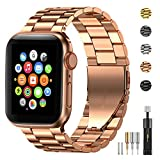 Fitlink Stainless Steel Metal Band for Apple Watch 38/40/42/44mm Strap Replacement Link Bracelet Band Compatible with Apple Watch Series 6 Apple Watch Series 5 Apple Watch Series 1/2/3/4(Rose Gold,42/44mm)