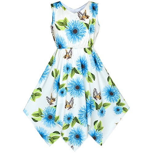 Sunny Fashion Girls Dress Blue Flower Hanky Hem with Necklace Size 8