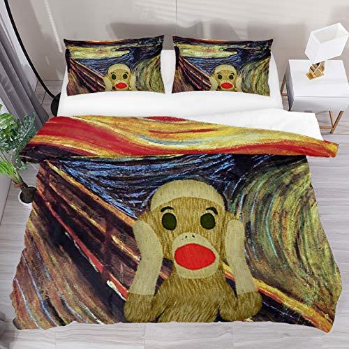 BOLIMAO 3 Pieces Sock Monkey Scream Duvet Cover Set (1 Duvet Cover + 2 Pillowcases) Full Size Breathable Bedding Sets Bedroom Decor for Adult Women Men Teens