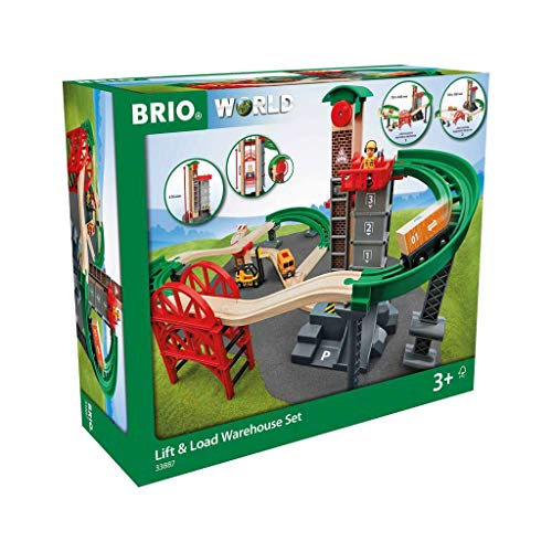 BRIO World Lift and Load Warehouse Train Set for Kids Age 3 Years and Up, Compatible with All BRIO Train Sets