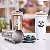 Coffee Cloud Edelstahl Kaffeebecher 500ml | Doppelwandig vakuumisolierter Travel Mug | Thermobecher aus Edelstahl | Isolierbecher BPA Frei, Leicht & Auslaufsicher (Bronze) - 9