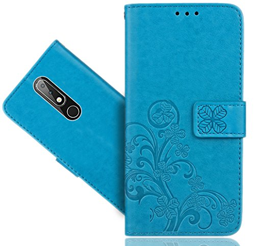 Nokia 6.1 Plus (2018) / Nokia X6 Handy Tasche, FoneExpert Wallet Hülle Cover Flower Hüllen Etui Hülle Ledertasche Lederhülle Schutzhülle Für Nokia 6.1 Plus (2018) / Nokia X6