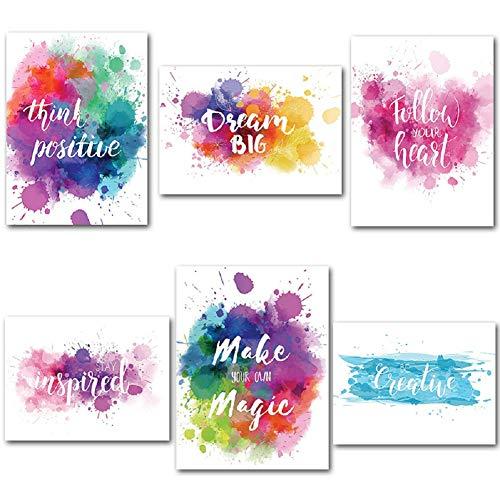 Bjyhiyh励志墙海报未犯规动机报价墙艺术品,用于办公室教室健身女童青少年(12