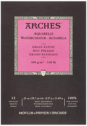 Arches - Papel de acuarela, bloc 12 hojas engomado 1 lado, grano satinado, 300 g/m², A4