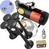 Train Horns Kit for Trucks, Air Horn, Train Horn, Train Horn for Truck Boat Car Motorcycle, Air Horn, Air Horns, 4 Trumpet, with Air Compressor