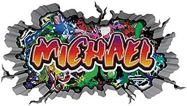 3D Wandtattoo graffiti muursticker naam Michael muurdoorbraak sticker Boy zelfklevend muursticker jongendeco kinderkamer 1...