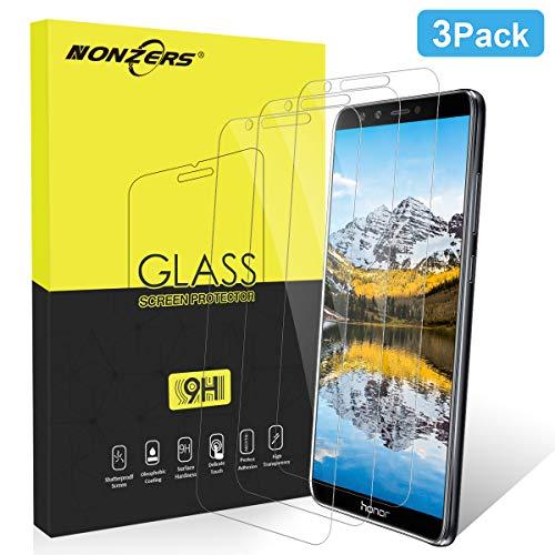 NONZERS Pellicola Protettiva per Huawei Honor 9 Lite [3 Pezzi], Durezza 9H, 2.5D Bordi Arrotondati, Alta Trasparenza, Anti-Graffi, Anti-Impronte, Huaw