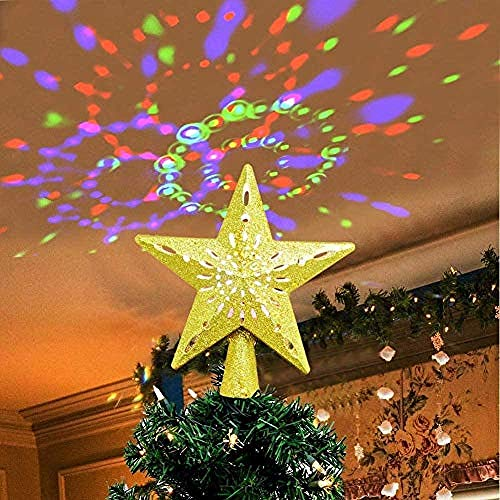 X1n design 3D Hollow Star Christmas Tree Top Decoration LED Snowflake Projector Light Decoration,Lighted Star Tree Topper for Christmas Tree Decorations Gold