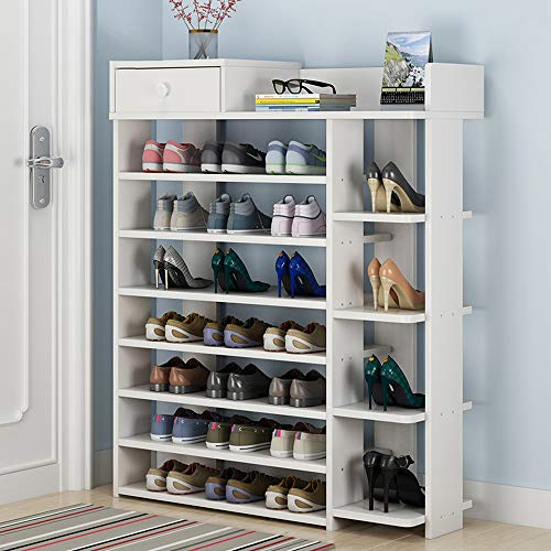 KaminHome - Zapatero recibidor Pasillo Paul Color Blanco con cajón y baldas para Zapatos Accesorios aparador Estilo escandinavo nórdico Moderno de Madera (106 cm x 80 cm x 24 cm)