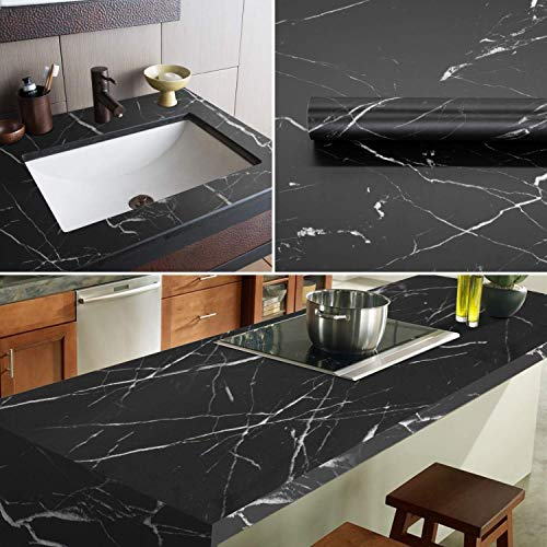 Marble Contact Paper Black/White Marble Granite Wallpaper Look Noble Texture Kitchen Countertops Wall Paper for Cabinet Furniture Renovation 11.8''×78.7'' Thickened Vinyl Peel and Stick Wallpaper