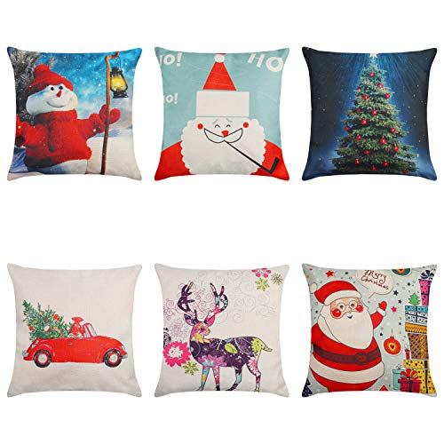 Fundas Cojines Navidad (6 Piezas) Fundas Cuadradas 6 Diseños Navidad Diferentes Fundas Cojines 45x45 cm Sofa Navidad -...