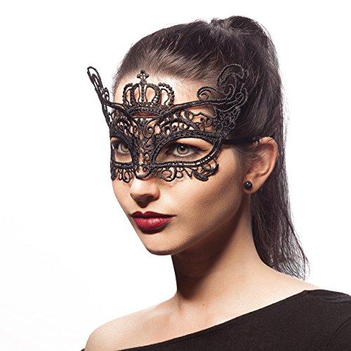 Venezianische Maske ROYAL CROWN - Augenmaske aus Stoff Spitze für Damen - Halloween Fasching Karneval Maskenball Rollenspiel Swinger