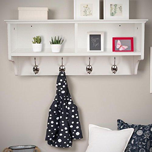 Home Source White Coat Hook Wall Mounted Hallway Unit 2 Open Shelves,...