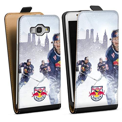 DeinDesign Tasche kompatibel mit Samsung Galaxy J5 (2016) Flip Case Hülle Schwarz EHC Red Bull München Offizielles Lizenzprodukt Eishockey