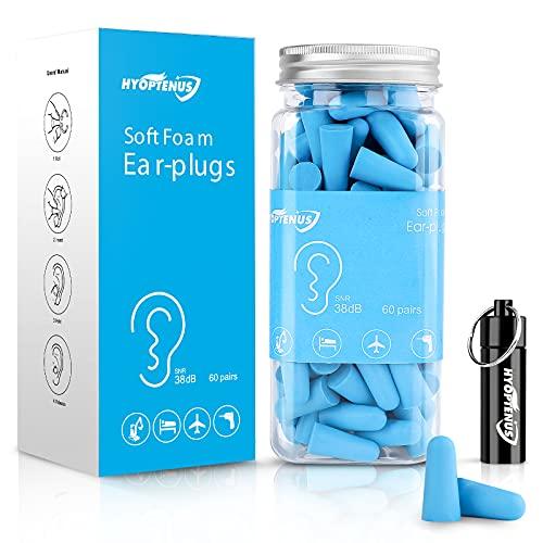 Hyoptenus 60 pares de tapones para los oídos de espuma suave con funda de transporte de aluminio, 38 dB SNR, reducción de ruido, protección auditiva, dormir, trabajo, viajes (azul)