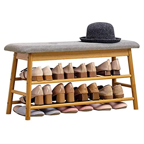 El almacenamiento en zapatero es simple y práctico Bastidores de zapatos Cambiar zapatos Taburete Hobles de almacenamiento Taburete de zapatos de dos pisos con compartimento de almacenamiento Entrada