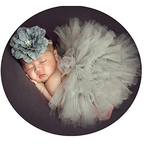 Baby Photography Props Tutu Skirt Headdress Newborn Girl Photo Shoot Outfits Infant Princess Costume Clothes Grey