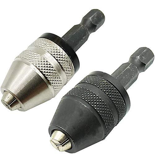 TIHOOD 2PCS 0.3-3.6mm Keyless Drill Chuck Conversion Tool, Keyless Conversion Chuck Adapter,1 4-Inch Hex Shank Drill