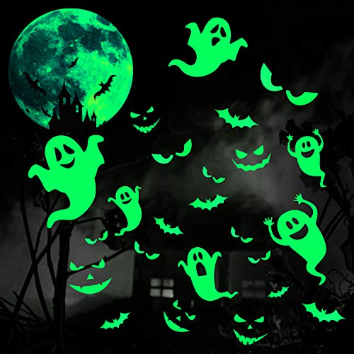 5 Sheets Halloween Luminous Stickers Halloween Glow in Dark Window Decals Removable Ghosts Bats Moon...