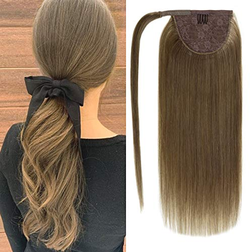 Lacer #6 Light Brown Ponytail Extension Clip in Ponytail Hair Extensions Remy Human Hair Wrap Around Ponytail Long Straight Ponytail Hairpiece Pony Tails Hair Extensions for Women 14 Inch