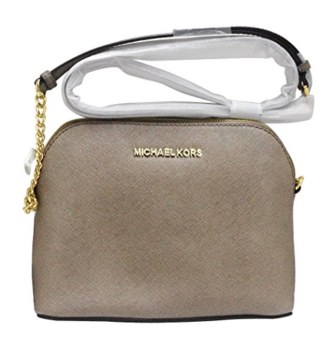 """Durable Michael Kors Saffiano leather with matching leather trim Measures approx. 9 inch (W) x 6.5 inch (H) x 3 inch (D) Zipper around closure; convenient crossbody style with 54 inches adjustable strap polished hardware; """"Michael Kors"""" logo on front..."""
