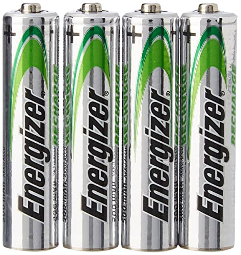 Energizer - Pilas Recargables Accu Recharge Universal 500 mAh HR03 AAA, 4 Pilas, Plata