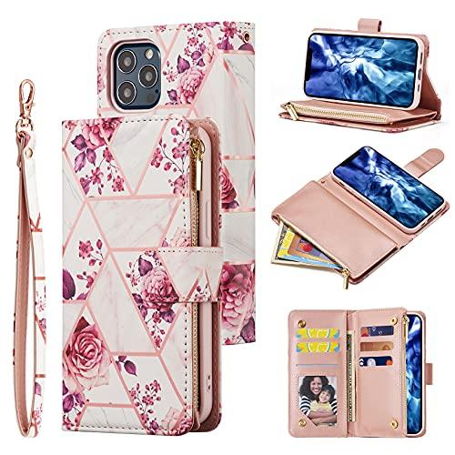 UEEBAI Funda para iPhone 13 Pro Max 6.7 pulgadas, funda de piel sintética tipo cartera retro antigolpes, funda con ranuras para tarjetas, función atril, cierre magnético, flor rosa