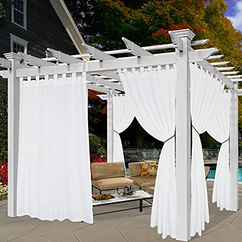 BONZER Waterproof Indoor/Outdoor Curtains for Patio - Privacy Tab Top Curtains for Bedroom, Living Room, Porch, Pergola, Cabana, 52 x 95 inch, White, 1 Panel