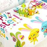 equival 2020 Nuevo Mantel De Tela De Pascua con Franela De Impresión De Huevo Cubierta De Mesa Suave Decoración De Mesa De Pascua Beautiful
