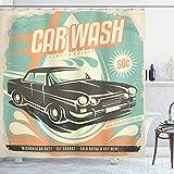 ABAKUHAUS Autos Duschvorhang, Retro Car Wash-Plakat, Seife Bakterie Schimmel & Wasser Resistent inkl. 12 Haken & Farbfest, 175 x 180 cm, Türkis Blass Orange Schwarz