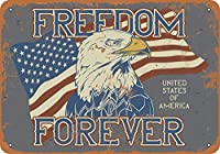 8 x 12 cm メタル サイン - アメリカ合衆国フリーダム フォーエバー イーグル フラグ メタルプレートブリキ 看板 2枚セットアンティークレトロ