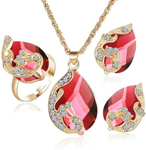 Conjunto de joyas con forma de pavo real en forma de gota de agua Conjunto de joyas cúbicas Collar Pendiente Anillo 4 piezas Conjuntos de joyas Collar colgante femenino Conjunto de anillo pend