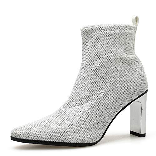 Dames Enkellaarsjes Mode Puntige Schoenen Met Dikke Hak Dames Martin Boots Korte Dameslaarzen,White-36