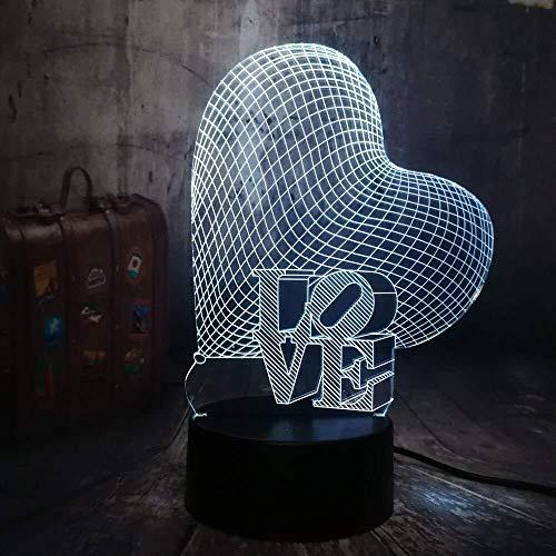 3D nachtlampje voor kinderen kerstcadeaus kerstverlichting liefdeshart 3D nachtlampje sfeerlicht romantische tafellamp bruiloftsdecoratie huwelijk geschenk