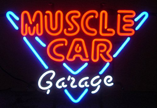 Fashion Neon Muscle Car Garage Real Glass Tube Neon Signs Handcrafted Bulbs Beerbar Shop Display Neon Sign19x15!!!Best Offer!