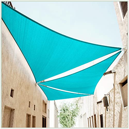 ColourTree 16' x 16' x 16' Turquoise Triangle CTAPT16 Sun Shade Sail Canopy Mesh Fabric UV Block - Commercial Heavy Duty - 190 GSM - 3 Years Warranty (We Make Custom Size)